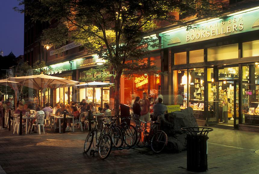 Burlington, Vermont, VT, Shops and cafes along Church Street Marketplace in downtown Burlington in the evening.