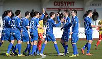 FC Knokke - OMS Ingelmunster : vreugde bij Knokke na de 2-0 <br /> Foto VDB / Bart Vandenbroucke