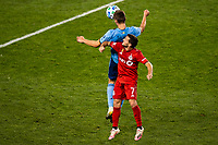 HARRISON, NJ - SEPTEMBER 23: HARRISON, NJ - Wednesday, September 23, 2020: James Sands, Pablo Piatti during a game between New York City FC and Toronto FC on September 23, 2020 at Red Bull Arena in Harrison, New Jersey during a game between Toronto FC and New York City FC at Red Bull Arena on September 23, 2020 in Harrison, New Jersey.