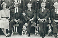 1979 FILE PHOTO - ARCHIVES -<br /> <br /> A confident PM flanked by (from left) Flora MacDonald; Martial Asselin; Ed Schreyer; Jacques Flynn<br /> Bezant, Graham<br /> Picture, 1979<br /> <br /> 1979,<br /> <br /> PHOTO : Graham Bezant - Toronto Star Archives - AQP