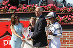 May 15, 2015: Connections of Stopchargingmaria join trainer Todd Pletcher and jockey John Velazquez in the winner's circle after the Grade III Allaire DuPont Distaff Stakes at Pimlico Race Course in Baltimore, MD. Trainer is Todd Pletcher, owner is Repole Stable. Joan Fairman Kanes/ESW/CSM