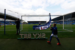 Chesterfield 1 Accrington Stanley 2, 16/09/2017. Proact Stadium, League Two. A young Chesterfield fan with a club flag walking past a freestanding Skybet logo. Photo by Paul Thompson.