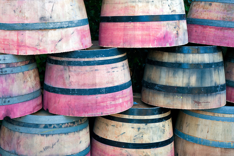 Colored barrels. Napa Valley, California