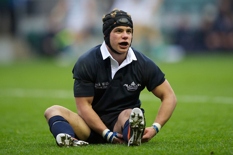 Henry Lamont of Oxford University is injured during the 131st Varsity Match between Oxford University and Cambridge University at Twickenham on Thursday 06 December 2012 (Photo by Rob Munro)