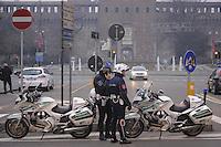 - Milan, municipal policemen on motorcycle in Castello square<br /> <br /> - Milano, vigili urbani motociclisti in piazza Castello