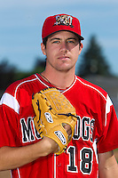 Batavia Muckdogs pitcher Matt Rein #18 poses for a photo during media day at Dwyer Stadium on June 14, 2012 in Batavia, New York.  (Mike Janes/Four Seam Images)