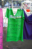 "A t-shirt announces ""Women - we reject the greed economy!"". The People's Summit at the United Nations Conference on Sustainable Development (Rio+20), Rio de Janeiro, Brazil, 16th June 2012. Photo © Sue Cunningham."