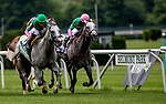 ELMONT, NY - JUNE 09: Stablemates Disco Partner and Pure Sensation battle it out to the finish in the Jaipur Invitational Stakes on Belmont Stakes Day at Belmont Park on June 9, 2018 in Elmont, New York. (Photo by Kazushi Ishida/Eclipse Sportswire/Getty Images)