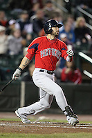 Pawtucket Red Sox outfielder Josh Kroeger #7 during a game against the Rochester Red Wings at Frontier Field on April 13, 2012 in Rochester, New York.  Pawtucket defeated Rochester 4-3.  (Mike Janes/Four Seam Images)
