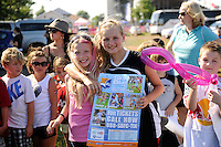 Fans pose for a photo while watching the finals of the 2011 FIFA Women's World Cup prior to a Women's Professional Soccer (WPS) match between Sky Blue FC and the Western New York Flash at Yurcak Field in Piscataway, NJ, on July 17, 2011.