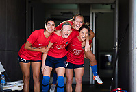 CARY, NC - SEPTEMBER 12: Peyton Perea #24, Diane Caldwell #7, Brittany Ratcliffe #27, and Rylee Baisden #29 of the NC Courage exit the tunnel for warm-ups before a game between Portland Thorns FC and North Carolina Courage at WakeMed Soccer Park on September 12, 2021 in Cary, North Carolina.