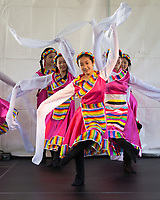 Girls dancing Chinese Long Sleeve Dance, Northwest Folklife Festival 2016, Seattle Center, Washington, USA.