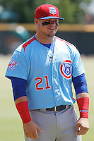 Tennessee Smokies infielder Dan Vogelbach (21) in the field before a game against the Jacksonville Suns at Bragan Field on the Baseball Grounds of Jacksonville on June 13, 2015 in Jacksonville, Florida.  Tennessee defeated Jacksonville 12-3. (Robert Gurganus/Four Seam Images)