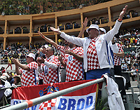 BOGOTA - COLOMBIA – 17 – 09 -2019: Fanáticos de Croacia, durante partido de la Copa Davis entre los equipos de Colombia y Croacia, partidos por el ascenso al Grupo Mundial de Copa Davis por BNP Paribas, en la Plaza de Toros La Santamaria en la ciudad de Bogota. / Fans of Croatia, during a Davis Cup match between the teams of Colombia and Croatia, match promoted to the World Group Davis Cup by BNP Paribas, at the La Santamaria Ring Bull in Bogota city. / Photo: VizzorImage / Luis Ramirez / Staff.