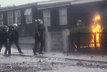 Belfast The Troubles 1980s. Royal Ulster Constabulary, RUC police. Get petrol bombed. Northern Ireland.