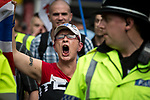 """© Joel Goodman - 07973 332324 . 22/08/2015 . Manchester , UK . Far-right nationalist group , """" North West Infidels """" and Islamophobic , anti-Semitic and white supremacist supporters , hold a rally in Manchester City Centre . Photo credit : Joel Goodman"""