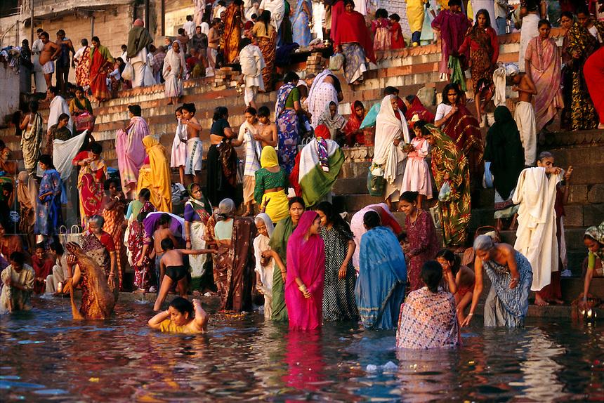 Morning bathers, Varanasi, India