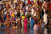 Morning bathers, Varanasi, India