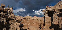 988000006 panoramic of thunderstorm clouds form up over the hoodoos in fantasy canyon blm lands utah united states