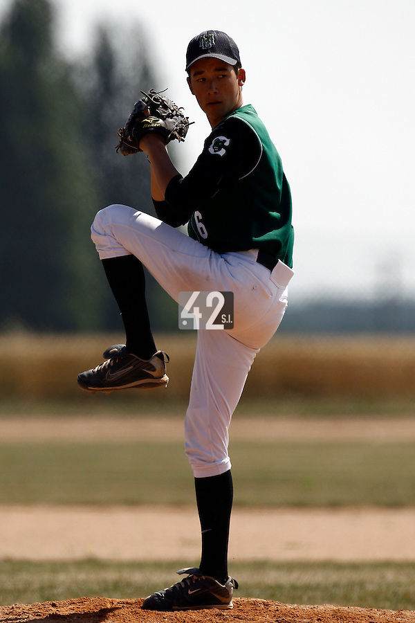 15 July 2011: Julien Higashiyama of Montigny pitches against Montpellier during the 2011 Challenge de France match won 10-7 by the Montpellier Barracudas over Montigny Cougars, in Les Andelys, near Rouen, France.