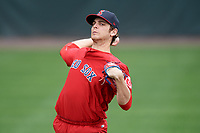 Salem Red Sox pitcher Austin Glorius (24) during practice before the first game of a doubleheader against the Potomac Nationals on May 13, 2017 at G. Richard Pfitzner Stadium in Woodbridge, Virginia.  Potomac defeated Salem 6-0.  (Mike Janes/Four Seam Images)