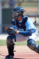 Tampa Bay Rays catcher Alexander Alvarez (80) warms up before a Minor League Spring Training game against the Minnesota Twins on March 17, 2018 at CenturyLink Sports Complex in Fort Myers, Florida.  (Mike Janes/Four Seam Images)