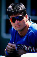 Jose Conseco of the Toronto Blue Jays plays in a baseball game at Edison International Field during the 1998 season in Anaheim, California. (Larry Goren/Four Seam Images)