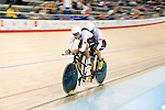MILTON, ON, AUGUST 11, 2015. Cycling at the Velodrome. Canadians Robbi Weldon and Audrey Lemieux (B_W).<br /> Photo: Dan Galbraith/Canadian Paralympic Committee
