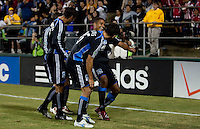 Quincy Amarikwa celebrates his goal with teammates.  FC Dallas defeated the San Jose Earthquakes 2-1 at Buck Shaw Stadium in Santa Clara, California on October 7, 2009.