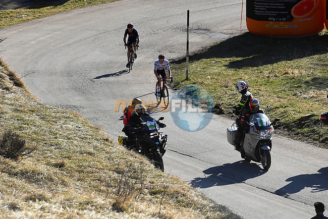 Tadej Pogacar (SLO) UAE Team Emirates and Geranit Thomas (WAL) Ineos Grenadiers on the final climb during Stage 4 of Tirreno-Adriatico Eolo 2021, running 148km from Terni to Prati di Tivo, Italy. 13th March 2021. <br /> Photo: LaPresse/Marco Alpozzi | Cyclefile<br /> <br /> All photos usage must carry mandatory copyright credit (© Cyclefile | LaPresse/Marco Alpozzi)