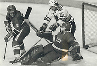 1987 FILE PHOTO - ARCHIVES -<br /> <br /> Belosheikin beaten: You don't see him here, but Jari Kurri provided Team NHL with a 1-0 lead on the Soviet nationals last night at Quebec city. His shot, set up by Wayne Gretzky, caught the inside of the far post behind goaltender Evgeny Belosheikin. Just to make certain there was no doubt the puck would go in, Esa Tikkanen (15) sneaked in behind Belosheikin and Soviet defenceman Sergei Starikov. Team NHL went on to defeat the Soviets, 4-3.<br /> <br /> PHOTO :  Jeff Goode - Toronto Star Archives - AQP