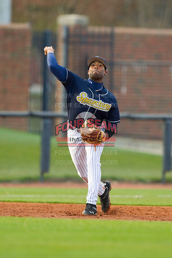 UNCG Spartans third baseman Ray Crawford (1) makes a throw to first base against the Georgia Southern Eagles at UNCG Baseball Stadium on March 29, 2013 in Greensboro, North Carolina.  The Spartans defeated the Eagles 5-4.  (Brian Westerholt/Four Seam Images)