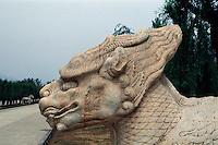China, Peking (Beijing) Minggräber, Geisterallee, Qilin, Unesco-Weltkulturerbe