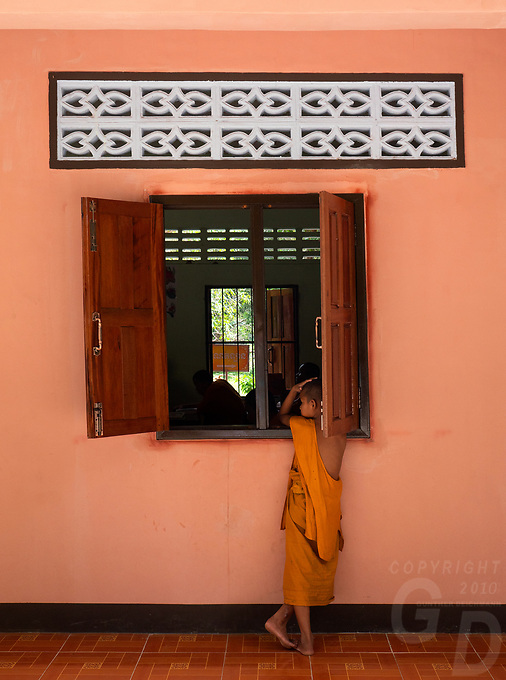Buddhist Monks in the classroom at the Monastery located close to Angkor Wat, Cambodia