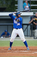 Xavier Fernandez (34) of the Burlington Royals at bat against the Greeneville Astros at Burlington Athletic Park on August 29, 2015 in Burlington, North Carolina.  The Royals defeated the Astros 3-1. (Brian Westerholt/Four Seam Images)