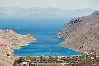 The bay of Pedi in Symi island, Greece