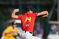 Simon Graf during the WWBA World Championship at the Roger Dean Complex on October 18, 2018 in Jupiter, Florida.  Simon Graf is a left handed pitcher from Stone Mountain, Georgia who attends Providence Christian Academy and is committed to The Citadel.  (Mike Janes/Four Seam Images)