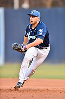 Asheville Tourists first baseman Chad Spanberger (24) reacts to the ball during a game against the Columbia Fireflies at McCormick Field on April 12, 2018 in Asheville, North Carolina. The Fireflies defeated the Tourists 7-5. (Tony Farlow/Four Seam Images)