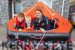 Adam O'Donnell,  Jack Tess and Denise Lynch at the Fenit RNLI open day in Fenit on Sunday