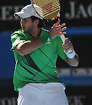 January 25, 2010T\.Fernando Verdasco, in action during his 6-2, 7-5, 4-6, 6-7, 6-3 loss to Nikolay Davydenko of Russia, in the fourth round of The Australian Open, Melbourne Park, Melbourne, Australia.