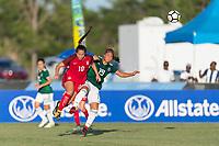 Bradenton, FL - Sunday, June 12, 2018: Sunshine Fontes, Rebeca Villuendas during a U-17 Women's Championship Finals match between USA and Mexico at IMG Academy.  USA defeated Mexico 3-2 to win the championship.