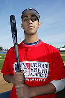 February 10 2008: Jake Hernandez participates in a MLB pre draft workout for high school players at the Urban Youth Academy in Compton,CA.  Photo by Larry Goren/Four Seam Images