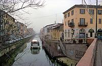 Milano, Naviglio Grande in inverno --- Milan, Naviglio Grande channel in winter