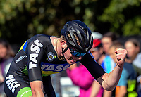 Burnie McGrath celebrates winning Under-19 Men's road race, Carterton-Martinborough-Gladstone circuit, on day two of the 2018 NZ Age Group Road Cycling Championships in Carterton, New Zealand on Sunday, 22 April 2018. Photo: Dave Lintott / lintottphoto.co.nz