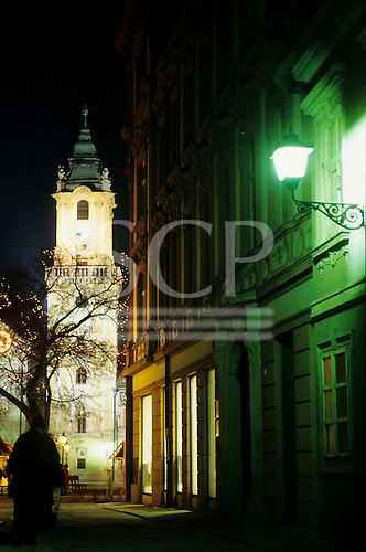 Bratislava, Slovakia. Buildings of the old town at night; the tower of the Old Town Hall, and lights in the tree.