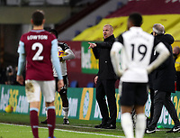 17th February 2021; Turf Moor, Burnley, Lanchashire, England; English Premier League Football, Burnley versus Fulham; Burnley Manager Sean Dyche shouts instructions to his team from the technical area
