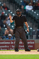 Home plate umpire Ryan Morehead makes a strike call during the NCAA baseball game between the Vanderbilt Commodores and the Sam Houston State Bearkats in game one of the 2018 Shriners Hospitals for Children College Classic at Minute Maid Park on March 2, 2018 in Houston, Texas. The Bearkats walked-off the Commodores 7-6 in 10 innings.   (Brian Westerholt/Four Seam Images)