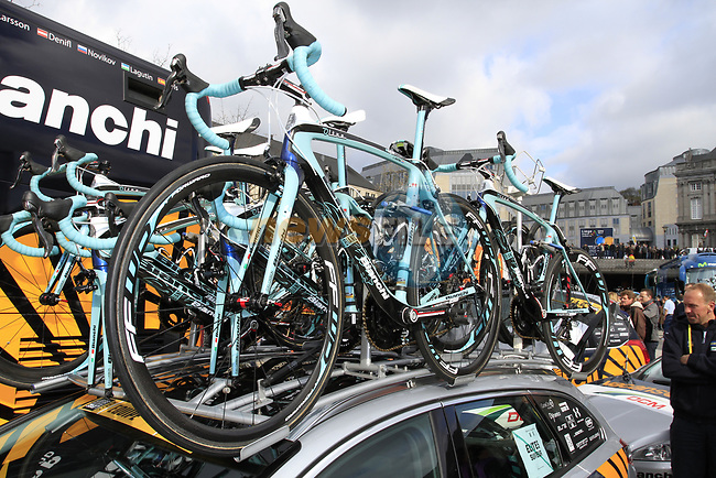 Vacansoleil-DCM Pro Cycling Team's spare Bianchi Oltre bikes on the car rack before the start of the 98th edition of Liege-Bastogne-Liege outside the Palais des Princes-Eveques, running 257.5km from Liege to Ans, Belgium. 22nd April 2012.  <br /> (Photo by Eoin Clarke/NEWSFILE).