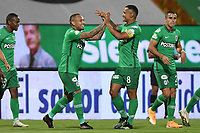 MEDELLIN - COLOMBIA, 02-03-2021: Jarlan Barrera del Nacional celebra después de anotar el primer gol de su equipo partido por la fecha 10 de la Liga BetPlay DIMAYOR I 2021 entre Atlético Nacional y Alianza Petrolera jugado en el estadio Atanasio Girardot de la ciudad de Medellín. / Jarlan Barrera of Nacional celebrates after scoring the first goal of his team during match for the date 10 as part of BetPlay DIMAYOR League I 2021 between Atletico Nacional and Alianza Petrolera played at Atanasio Girardot stadium in Medellín city. Photo: VizzorImage / Luis Benavides / Cont