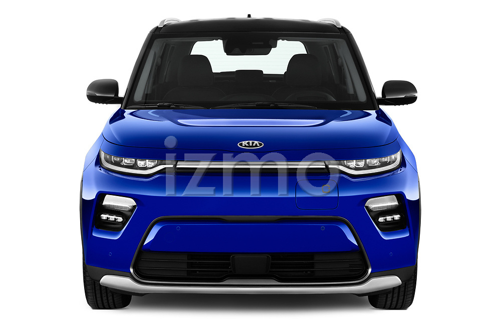 Car photography straight front view of a 2020 KIA e-Soul Premium 5 Door SUV Front View